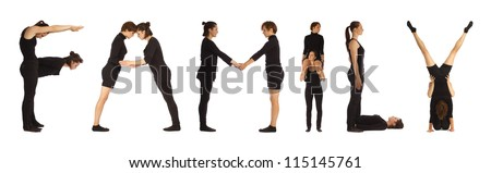 Black dressed people forming FAMILY word over white background