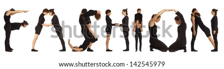 Black dressed people forming FASHION word over white - stock photo