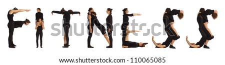 Black dressed people forming FITNESS word over white - stock photo