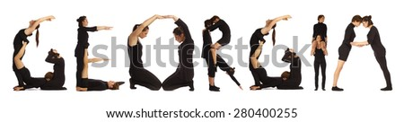 Black dressed people forming GEORGIA word over white - stock photo