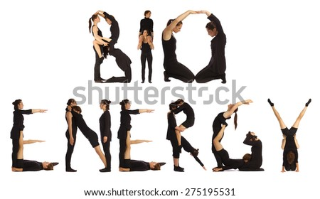 Black dressed people forming HEALTH word over white - stock photo