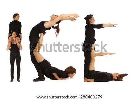 Black dressed people forming ICE word over white - stock photo