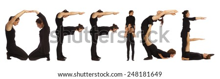 Black dressed people forming OFFICE word over white - stock photo