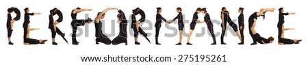 Black dressed people forming PERFORMANCE word over white - stock photo