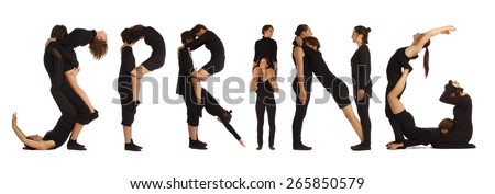 Black dressed people forming SPRING word over white - stock photo