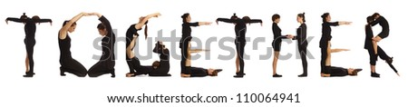 Black dressed people forming TOGETHER word over white - stock photo