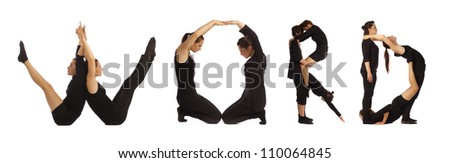 Black dressed people forming WORD word over white