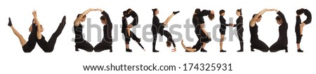 Black dressed people forming WORKSHOP word over white - stock photo