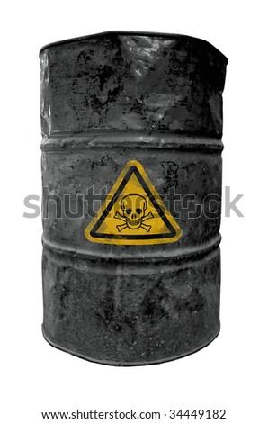 black drum barrel, contain poisonous liquid - stock photo