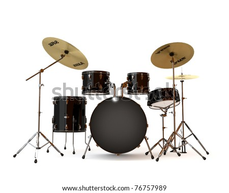 Black drums with a white background - stock photo