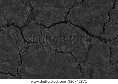 Black Dry Drought Land with Chaps as Natural Ground Background - stock photo