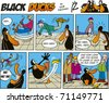 Black Ducks Comic Strip episode 6 - stock vector