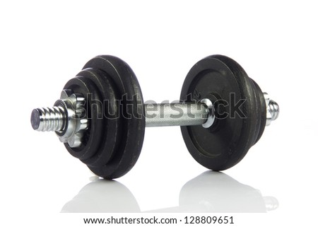 Black dumbbell isolated on a white background. - stock photo