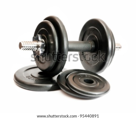 black dumbbell isolated on a white background - stock photo