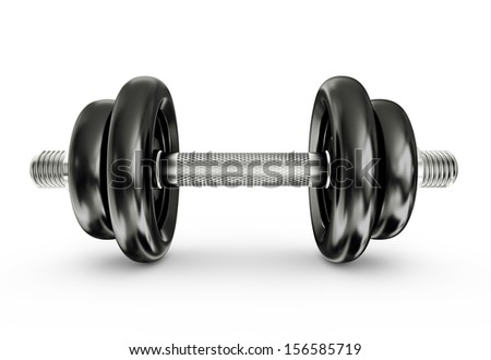 black dumbbells isolated on a white background
