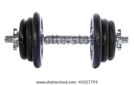black dumbell isolated on white - stock photo