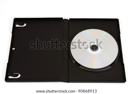 Black DVD case with a silver disc in front of a white background