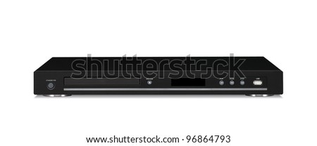 black dvd player isolated - stock photo