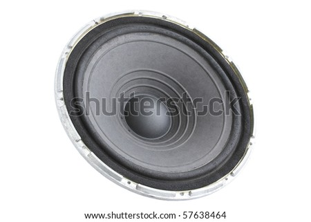 black dynamic loudspeaker/the musical acoustic equipment - stock photo