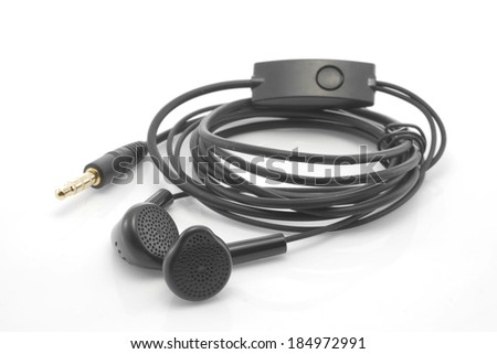 Black earphones on white background.