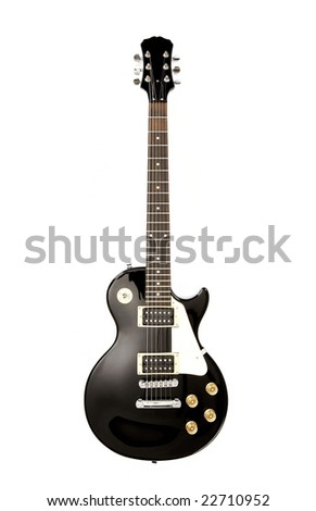 Black electric guitar isolated on white background - shot in studio - stock photo