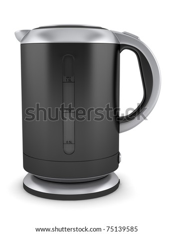 black electric kettle isolated on white background - stock photo