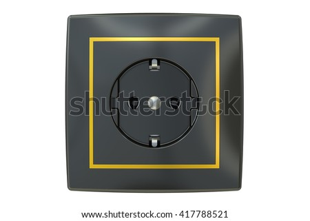 Black electric socket, 3D rendering isolated on white background