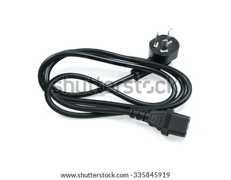 Black electric wire. Electric wired. Electric cable. Electric plug. Electric cord isolated. Electric computer wire. Electric notebook wire. Unplugged wire. Portable wire. Standard wire. Clipping path - stock photo