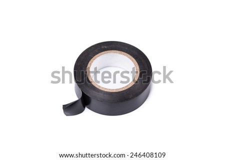 black electrical tape isolated on white background - stock photo