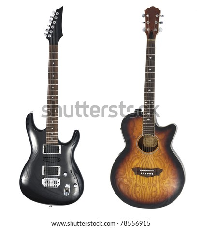 Black electro guitar nad acoustic guitar isolated on white - stock photo
