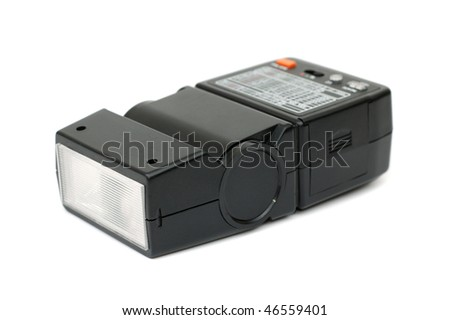 Black electronic flash for photo camera
