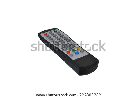 Black electronic remote control isolated over white - stock photo