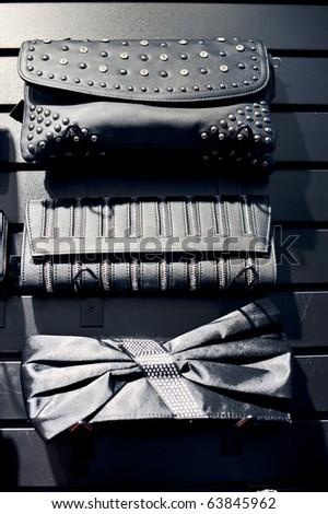 Black elegant ladies purses. - stock photo