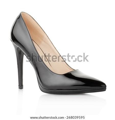 Black elegant shoe for woman, isolated on white, clipping path included