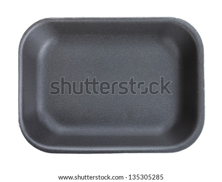 Black empty food tray. Isolated on white background - stock photo
