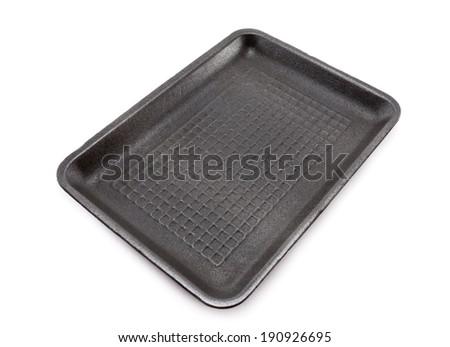 Black empty food tray  on white background - stock photo