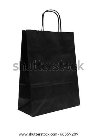 black empty shopping bag on white background - stock photo