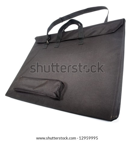 Black engineer's bag for papers of A1 size. Isolated on white.