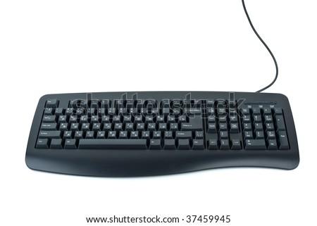 Black ergonomic computer keyboard isolated on the white background - stock photo
