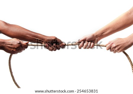 black ethnicity arms with hands pulling rope against white Caucasian race person in stop racism and xenophobia concept, immigration and multiracial  respect  isolated on white background - stock photo
