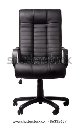 black executive leather chair on a white background - stock photo