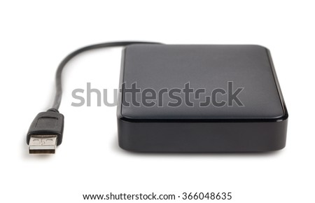 Black external hard disk with cable isolated on white background - stock photo