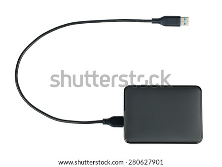 Black external hard drive top view isolated on white background