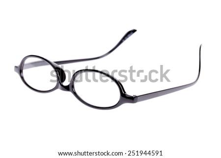 Black Eye Glasses Isolated on White Background - stock photo