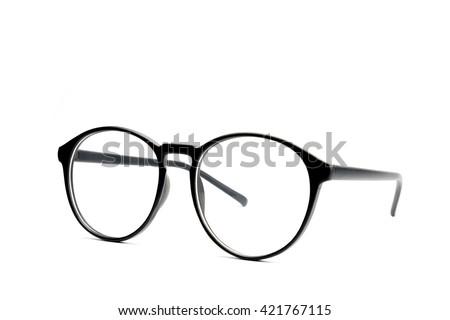 Black eye glasses Isolated on white background. - stock photo
