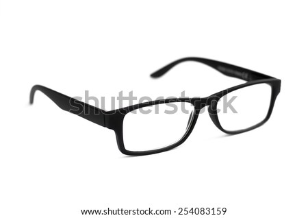 Black Eye Glasses Isolated on White with shallow depth of field and soft focus - stock photo