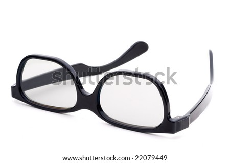Black eye-glasses with tinted lenses on a white background - stock photo