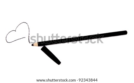 Black eye liner pencil with heart isolated on white - stock photo