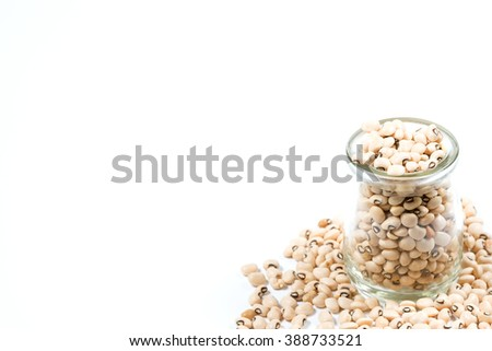 Black eyed peas in glass, arranged in a frame. Selective focus with shallow depth field. - stock photo