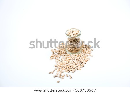 Black eyed peas in glass. Selective focus with shallow depth field. - stock photo